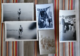 Lot De 5 Photos Plages Maillot De Bain Baigneurs, Baigneuses - Personnes Anonymes