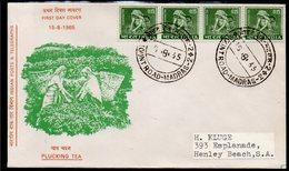 INDIA, 1965 PLUCKING TEA STRIP 4 4 FDC - India