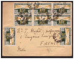 Timbre N° 210 En Bloc De 4 + 4  Sur Lettre De PARIS Pour FIRENZE ( ITALIE ) Du 8.6.24. - Postmark Collection (Covers)