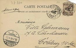 TP N° 14 Sur Carte Postale De Monte Carlo Pour Coblence - Postmarks