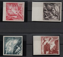 MONACO  -  1955  -  Oiseaux  De  Mer , PA 55 ** à  58 ** . Essai  De  Couleur , Non Dentelés . - Poste Aérienne