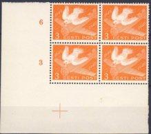 1940-(MNH=**) Estonia Un Valore Posta Aerea In Quartina Angolo Di Foglio Centenario Del Francobollo - Estonie
