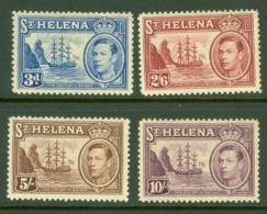 St Helena: 1938/44   KGVI   Top Values    3d, 2/6d. 5/- And 10/-   MH - Saint Helena Island