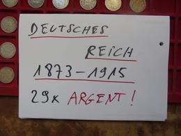 DEUTSCHES REICH 29 MONNAIES ARGENT 1 MARK 1873-1915 - Vrac - Monnaies