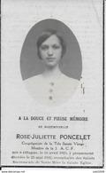 OFFAGNE ..-- J.A.C.F . Mademoiselle Rose PONCELET . Née En 1925 , Décédée En 1942 . - Paliseul