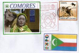 Timbre îles Comores Indian Darter (Oiseau-serpent) , Lettre  Du Pavillon Des Comores à L'Expo Universelle Milano 2015 - Komoren (1975-...)