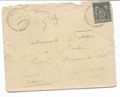 1889- Cachet à Cercle Pointillé  BEDEAU ORAN Sur Type Sage Pour BAROU  Par ST GERMAIN DU PUCH -voir Cachets Au Dos - Marcophilie (Lettres)