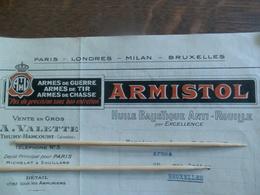 Oude Prijs Offerte 1921 Voor Kogels   ARMISTOL    _ Armes De Guerre   Enz ....  Ondertekend Achteraan - 1939-45