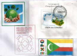 Combat Contre Le Réchauffement De La Terre, Lettre (Bloc-Feuillet) Du Pavillon Des Comores à L'Expo Universelle Milano - Komoren (1975-...)