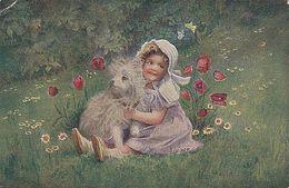 (1620) A.von Riesen Künstler AK Die Unzertrennlichen Kleines Mädchen Mit Hund - Portraits