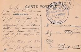 CACHET  HOPITAL  AUXILIAIRE N° 13 DE LAVAUR  SUR  CP DE  LAVAUR - Guerre 1914-18