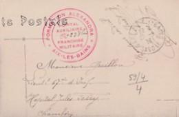 CACHET  HOPITAL  AUXILIAIRE   N° 238 BIS  SUR CP  AIX LES BAINS - Guerre 1914-18