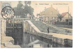 Cpa...Saint-Omer...les Sept écluses D'Arques...animée...1906... - Saint Omer