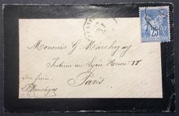 CS2 Convoyeur Station «BR.T» Chantonnay Vendée 13/4/1878 Sage 25c Verso Paris Distribon - Postmark Collection (Covers)