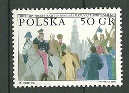 POLAND MNH ** 3450 BICENTENAIRE DE L'HYMME NATIONAL DABROWSKI MAZURKA. GENERAL, Cheval Musique - 1944-.... Republic