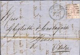 1877-Gran Bretagna Lettera Diretta A Genova Affr. 2�p. Rosa Violaceo Numero Di Tavola 7 - Marcophilie