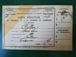 Carte D'ÉLECTEUR France Paris 2ème Rue De Vienne Mr Dailler Henri (tailleur). - Cartes
