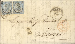 1867- Piego Diretto In Francia Affrancato Due 20c.su 15c.Ferro Di Cavallo III Tipo Cat.Sassone Euro 30 - Storia Postale