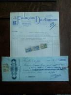 2 Stuks              Oude Faktuur  1936  J. FRANCOIS  DE  JONGHE   IMP .   CROMO  LITH .  D' ART  Met Fiscale Zegels - Imprenta & Papelería