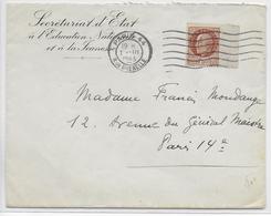 1943 - ENVELOPPE Du SECRETARIAT D'ETAT à L'EDUCATION NATIONALE Et à La JEUNESSE à PARIS - Marcophilie (Lettres)