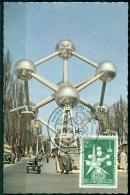 CM-Carte Maximum Card #1958-Belgique-Belgium #Architecture #  Expo´58  # Atomium, 2,50 F # Telexpo -Tintin# Brusse - Architecture