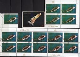 Atlantik Meereswelt 1970 Sealand 6A Plus 3A,4-Block+KB O 23€ Regionalmarken GB Tintefisch Fauna Privat Bf Sheets UK - Whales