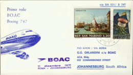 1971-San Marino Aerogramma Della Boac I Volo Boeing 747 Roma-Johannesburg - San Marino
