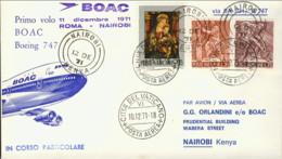 1971-Vaticano Aerogramma Della Boac I Volo Boeing 747 Roma-Nairobi - Posta Aerea