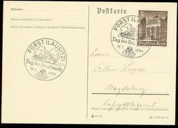 P0625 - DR WHW Auf Postkarte : Gebraucht Mit Sonderstempel Panzer,Tag Der Briefmarke ,Forst Lausitz 1941 - Deutschland