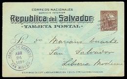 EL SALVADOR. 1894. San Miguel / S. Salvador. 1c Stat Card. Fine Local Usage / Colon. - El Salvador
