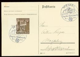 P0584 - DR WHW Seitenrand Auf Postkarte : Gebraucht Mit Sonderstempel Funker,Tag Der Briefmarke ,Memel 1941 - Deutschland