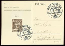 P0583 - DR WHW Oberrand Auf Postkarte : Gebraucht Mit Sonderstempel Fallschirmjäger,Tag Der Briefmarke ,Wien Mödling 1 - Allemagne