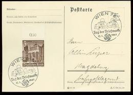 P0579 - DR WHW Oberrand Auf Postkarte : Gebraucht Mit Sonderstempel Beobachter,Tag Der Briefmarke ,Wien 1941 - Allemagne