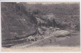 63 Construction Du Barrage De Chambonnet ,travaux De Dérivation De La Rivière ,attelage Chevaux Tirant Wagons De Pierre - France
