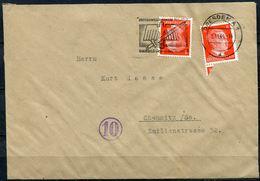 """German Empires Dresden 1944 Bedarfsbrief M.Mi.786 U.Propaganda MWST""""Dresden-Sinnbild Unseres Sozialismus,Kriegs.""""1 Beleg - Allemagne"""