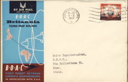 1957--Sud Africa Cat.Pellegrini N. 702 Euro 110, I Volo BOAC Johannesburg Roma Del 3 Febbraio - Afrique Du Sud (...-1961)