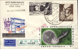 """1969- Razzogramma Bollo """"G.III - P.50 Verso Venezia""""+erinnofilo Volo Sperimentale Mentana Verso Venezia - 1946-.. République"""
