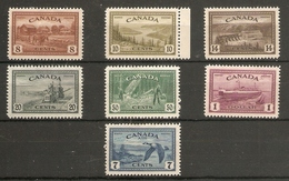 CANADA 1946 PEACE RE-CONVERSION SET SG 401/407 MOUNTED MINT Cat £50 - 1937-1952 George VI
