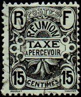 Réunion Obl. N° Taxe  8 - Emblème 15cts  Gris-noir - Réunion (1852-1975)
