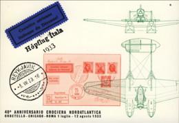 1973- Cartolina Ufficiale Illustrata Mostra Aerofilatelica 40 Anniv. Crociera Nord Atlantica Del 1 Luglio - 1946-....: Ere Moderne