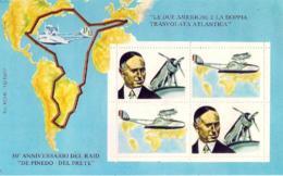 """1977-erinnofilo Foglietto 4 Valori """"le Due Americhe E La Doppia Trasvolata Atlantica-50� Anniversario Del Raid De Pinedo - 1946-.. République"""