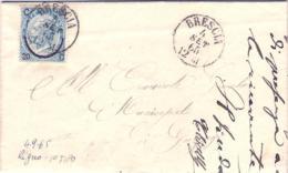 1865-lettera Affrancata 25c.Ferro Di Cavallo I Tipo Annullo Brescia 4 Settembre - 1861-78 Victor Emmanuel II