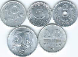 Hungary - Republic - 1990 & 1992 - 1, 5, 10, 20 & 50 Fillér - (KMs 673-677) - Hongrie