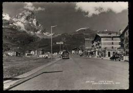 C852 CERVINIA-BREUIL - ENTRADA ALLA CITTÀ AUTO PARCHEGGIATE UFFICIO TURISTICO HOTEL B\N VG 1957 - Italia