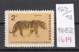 48K163 / 1682 Bulgaria 1966 Michel Nr. 1619 - Tiger Le Tigre (Panthera Tigris)  , Sofia Zoo Animals - Big Cats (cats Of Prey)