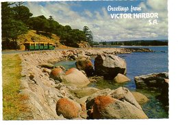 Victor Harbor SA Granite Rocks  Granite Island Australia Greetings From Australie - Victor Harbor