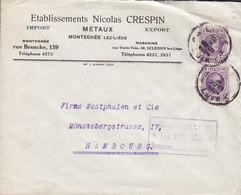 Belgium Etablissements NICOLAS CRESPIN Métaux Import-Export, LIEGE 1924 Cover Lettre HAMBURG Germany - Belgien