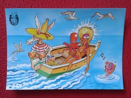 POSTAL POST CARD CARTE POSTALE BALEARIC ISLANDS SPAIN BURRO BURRITO PLAY DONKEY ASNO ÂNE ASINO EN BARCA BOAT CARTOON VER - Burros
