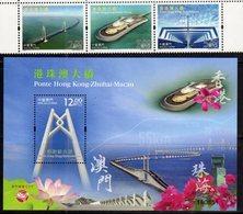 MACAO, 2018, MNH, JOINT ISSUE, BRIDGES, HONG KONG-ZHUHAI-MACAU BRIDGE,SET+S/SHEET - Joint Issues