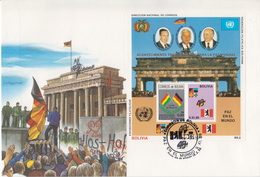 Bolivia German Reunification SS On Jumbo FDC - History